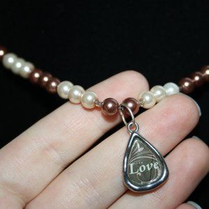Cream and brown pearl Love necklace 17""